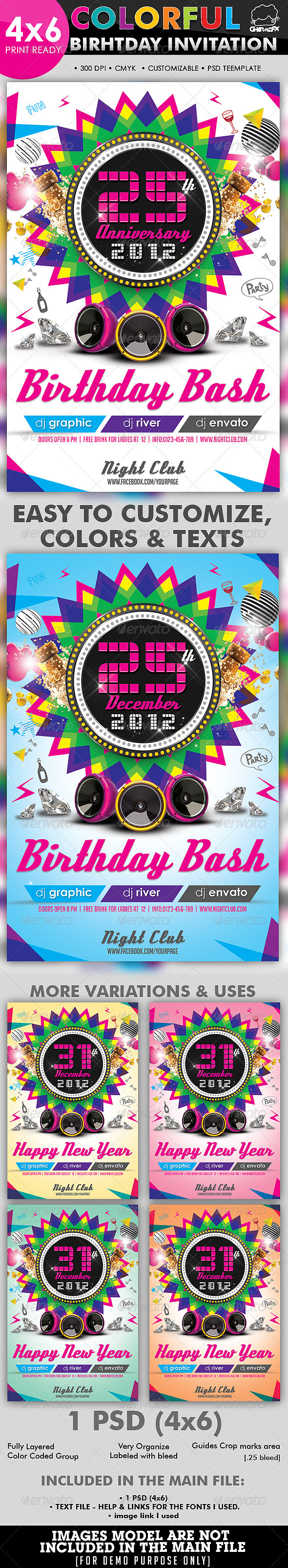 Colorful Birthday Invitation Flyer Template - Clubs & Parties Events