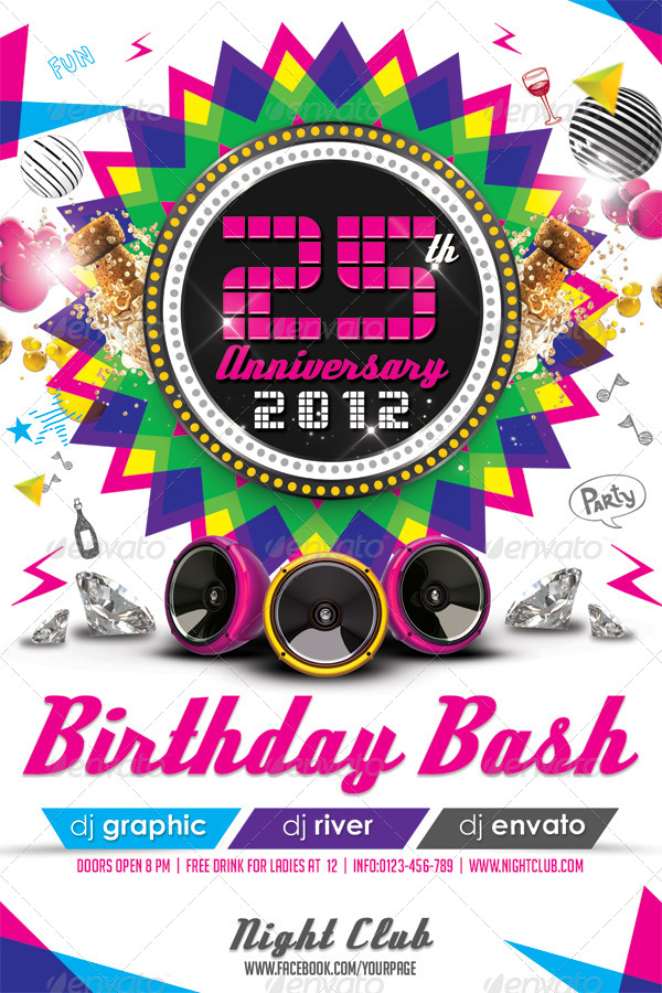 Colorful Birthday Invitation Flyer Template by hermz – Birthday Invitation Flyer Template