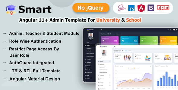 Smart - Angular 11+ Admin Dashboard Template for University, School & Colleges