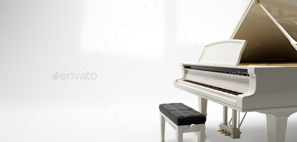 Classic grand piano keyboard - Stock Photo - Images