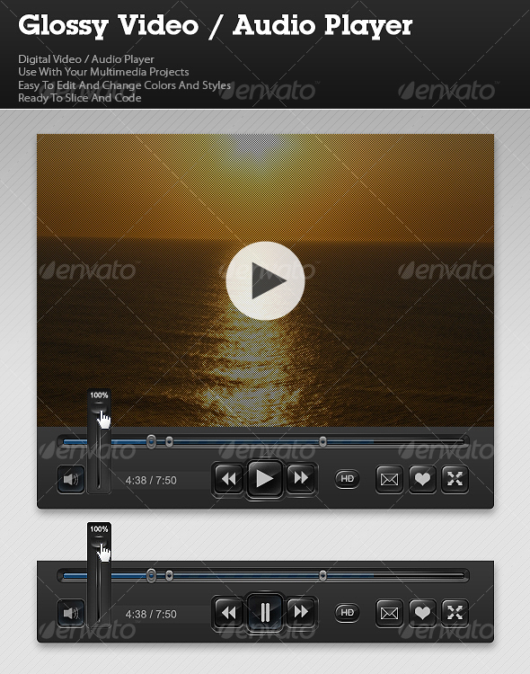 Glossy Video / Audio Player - Miscellaneous Web Elements