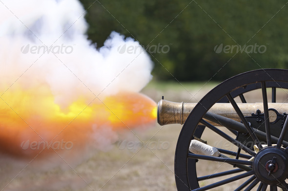 Civil War Cannon Firing - Stock Photo - Images
