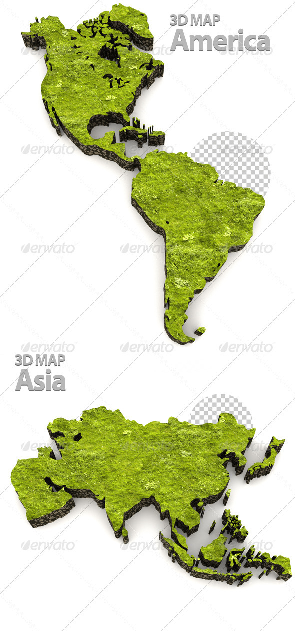 American & Asia Grass Map - Objects 3D Renders