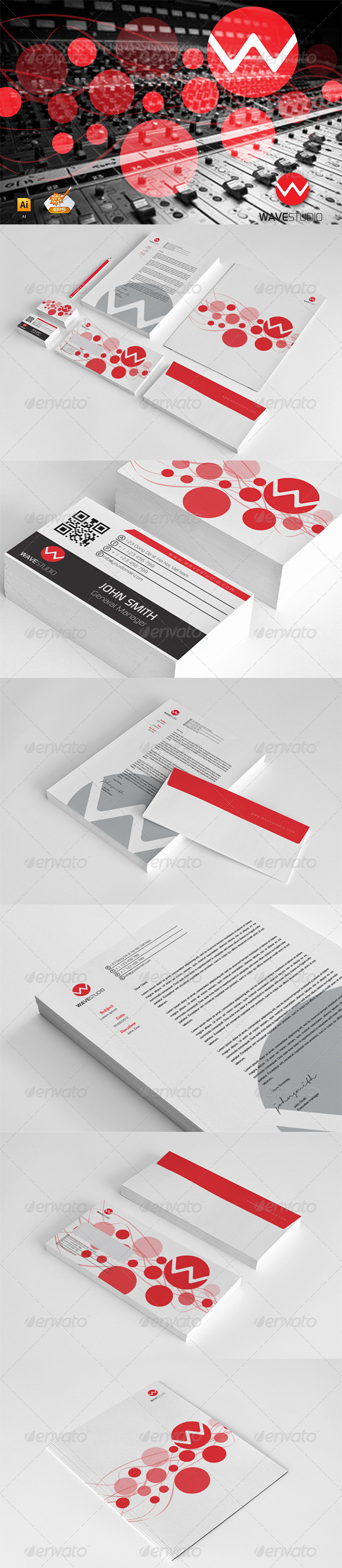 Corporate Startioney Wave Studio - Stationery Print Templates