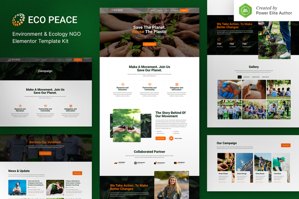 EcoPeace – Environment & Ecology NGO Elementor Template Kit