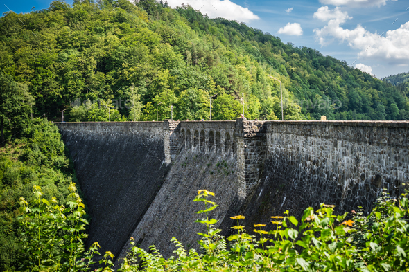 Beautiful view of the old water dam in Zagorze Slaskie, Poland - Stock Photo - Images