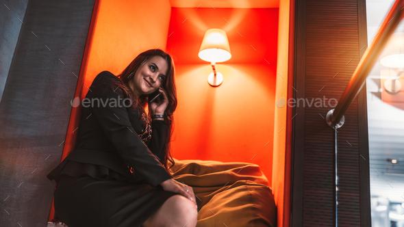Caucasian businesswoman phoning - Stock Photo - Images