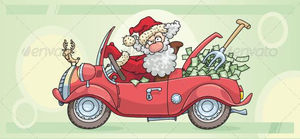 Santa Claus and Money - Characters Vectors