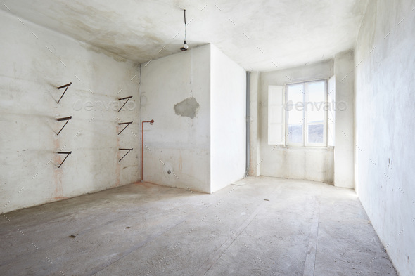 Empty, dirty room in old house, white walls - Stock Photo - Images