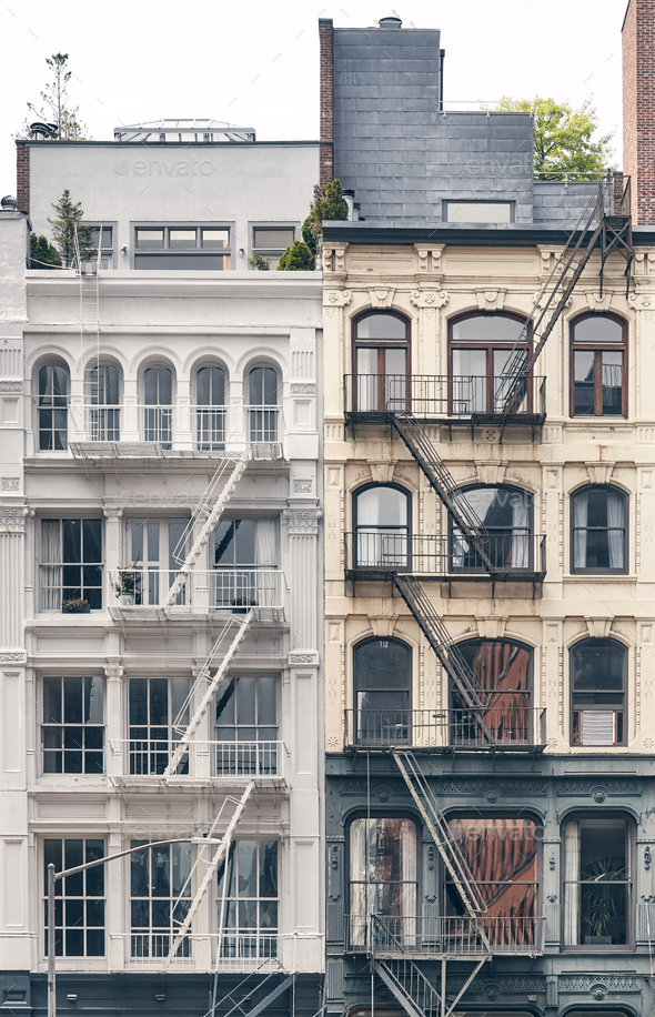 Old residential buildings with iron fire escapes, New York City, USA. - Stock Photo - Images