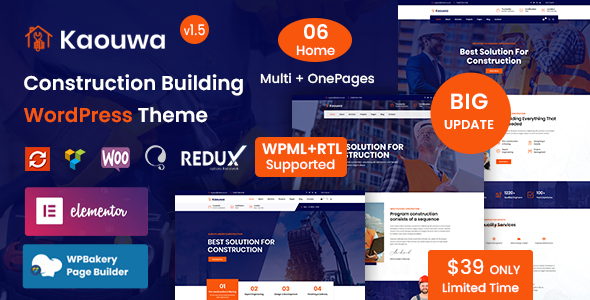 Kaouwa - Construction Building WordPress Theme