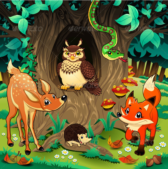 Animals in the wood. - Animals Characters