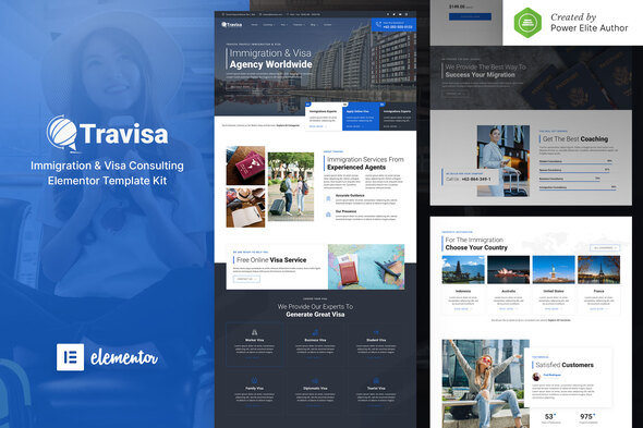 Travisa – Immigration & Visa Consulting Elementor Template Kit