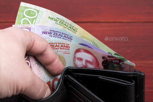 New Zealand money in the black wallet - Stock Photo - Images
