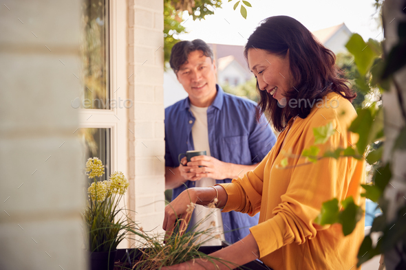 Mature Asian Couple Planting Plants Into Wooden Garden Planter At Home - Stock Photo - Images