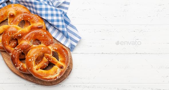 Fresh baked homemade pretzel. Beer snack - Stock Photo - Images