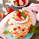 Waffles stacked with strawberries and cream - PhotoDune Item for Sale