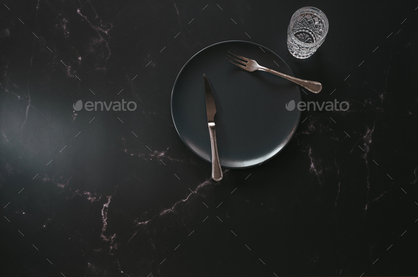 Flat lay of luxurious diner articles - Stock Photo - Images