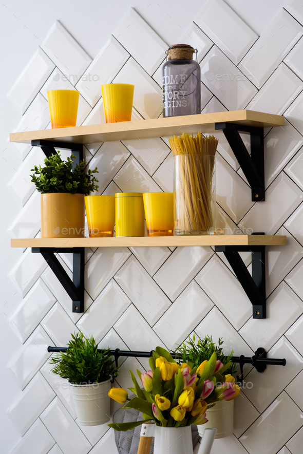 Spacious modern scandinavian loft kitchen with white tiles. bright room. modern interior. - Stock Photo - Images