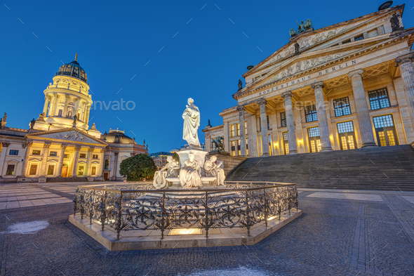 The Gendarmenmarkt square in Berlin at dawn - Stock Photo - Images