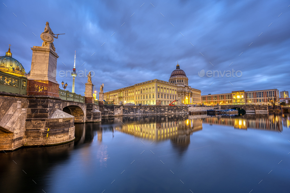 The reconstructed Berlin City Palace at twilight - Stock Photo - Images