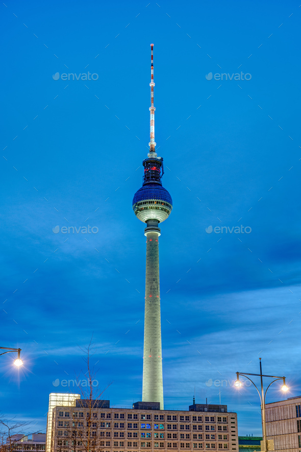 The famous Televison Tower at twilight - Stock Photo - Images