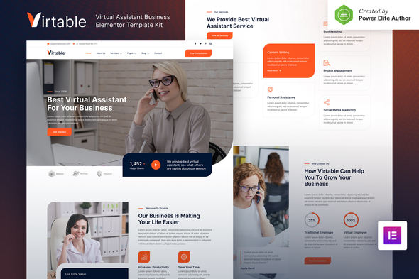 Virtable – Virtual Assistant Business Elementor Template Kit