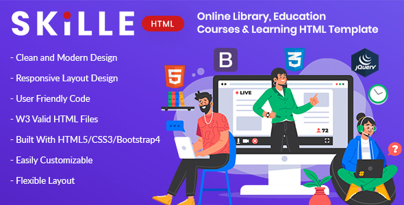 SKILLE – Online Library, Education, Course & Learning HTML Template