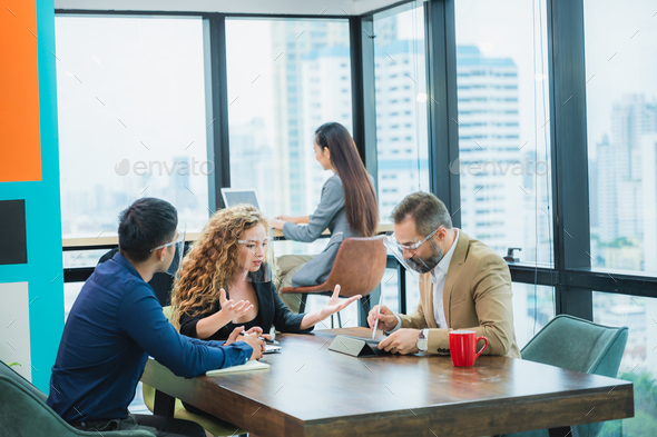 The corporate of worker officer discussion and sharing the project idea with leader manager - Stock Photo - Images