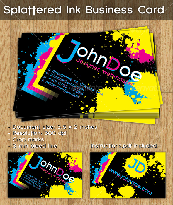 Splattered ink business card by cucuionel graphicriver splattered ink business card grunge business cards colourmoves