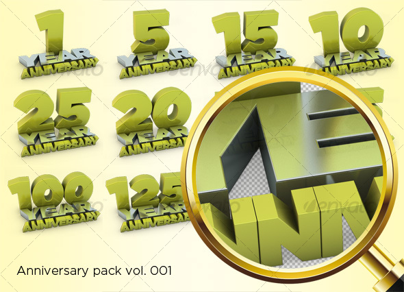 Anniversary Pack - Objects 3D Renders