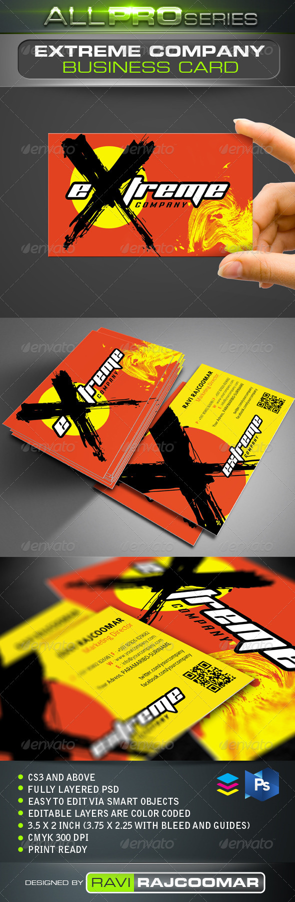Extreme Company Business Card - Creative Business Cards