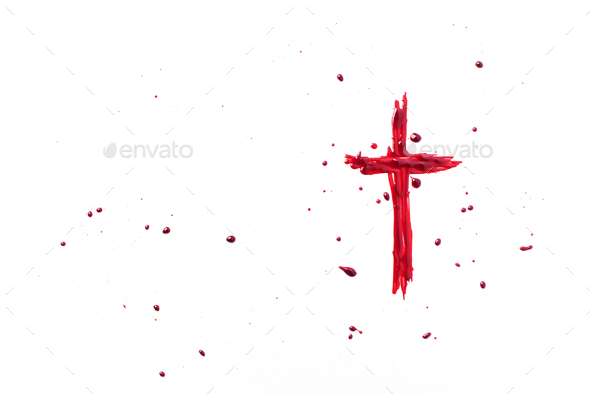Crucifix ox Jesus Christ made with blood isolated on white background. Top view. Palm Sunday, Good