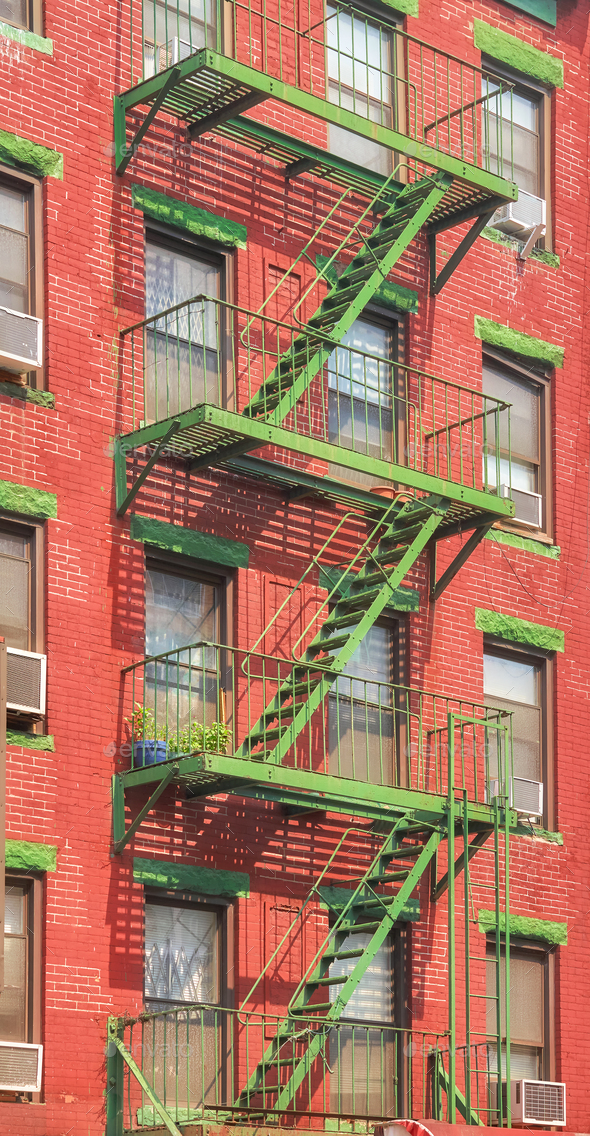 Green fire escape in New York CIty. - Stock Photo - Images