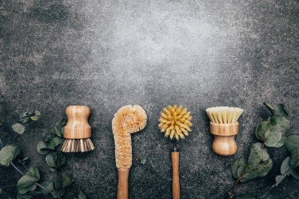 Bamboo Kitchen Scrub Brush Set of 4 - Stock Photo - Images