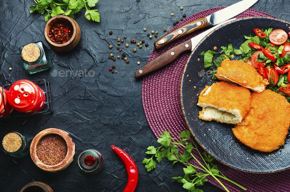 Traditional Kiev cutlet on plate,homemade food - Stock Photo - Images