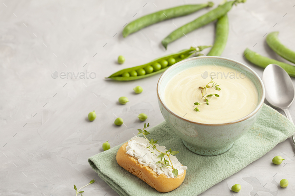 Fresh vegetable soup made of green peas. Homemade healthy diet voncept suitable for vegans and - Stock Photo - Images