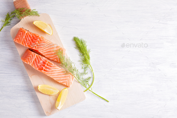 Fresh organic salmon ready for cooking - Stock Photo - Images