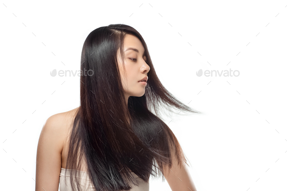 portrait of young asian woman with beautiful and healthy hair isolated on white - Stock Photo - Images
