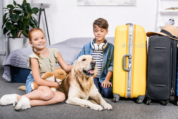 adorable kids  in bedroom with dog and yellow suitcase for trip - Stock Photo - Images
