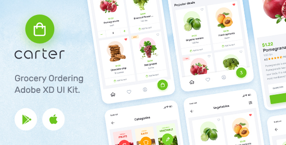 Carter – Grocery Application Adobe XD Mobile UI Kit