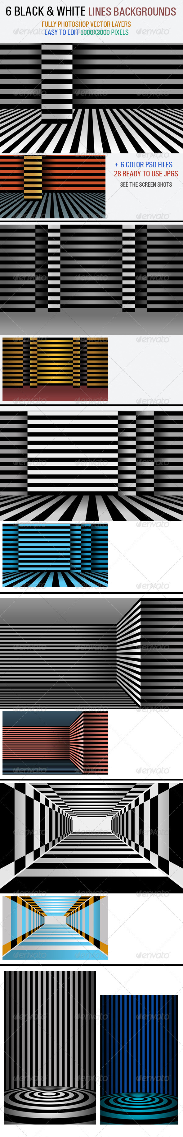 Black & White Line Backgrounds - Abstract Backgrounds