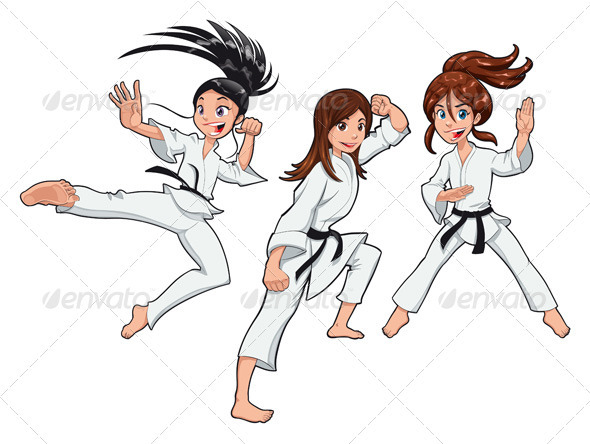 Young girls, Karate Players.  - Sports/Activity Conceptual