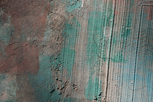 close-up view of old rough grey and green concrete wall texture - Stock Photo - Images