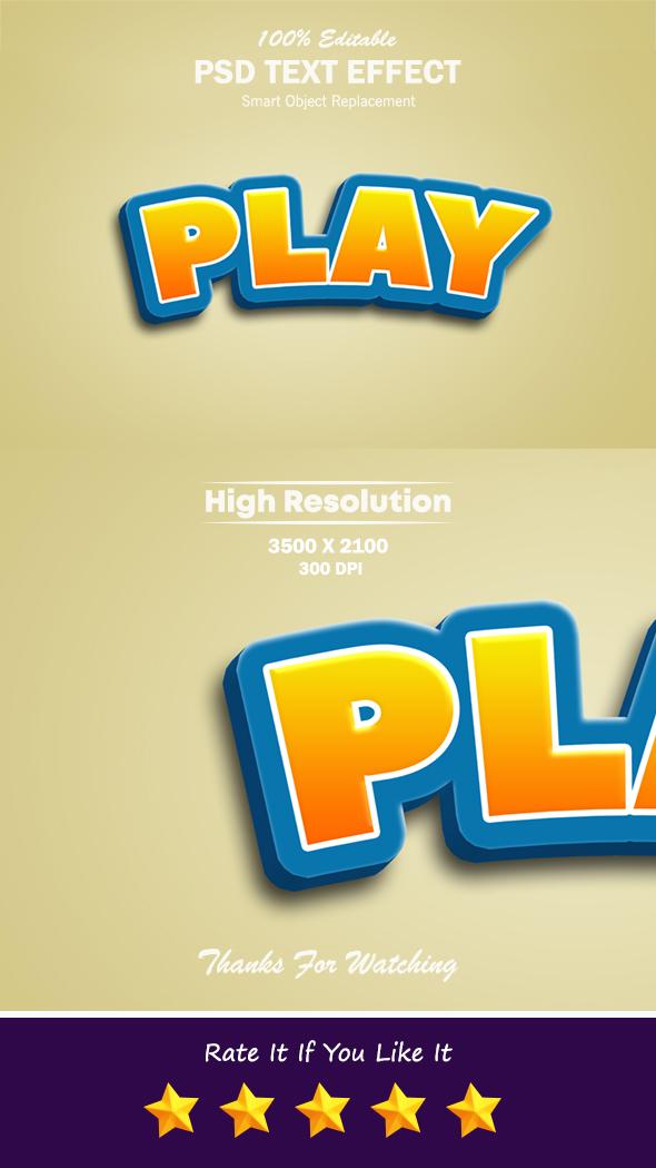 Play Cartoon Style 3D Editable Text Effect