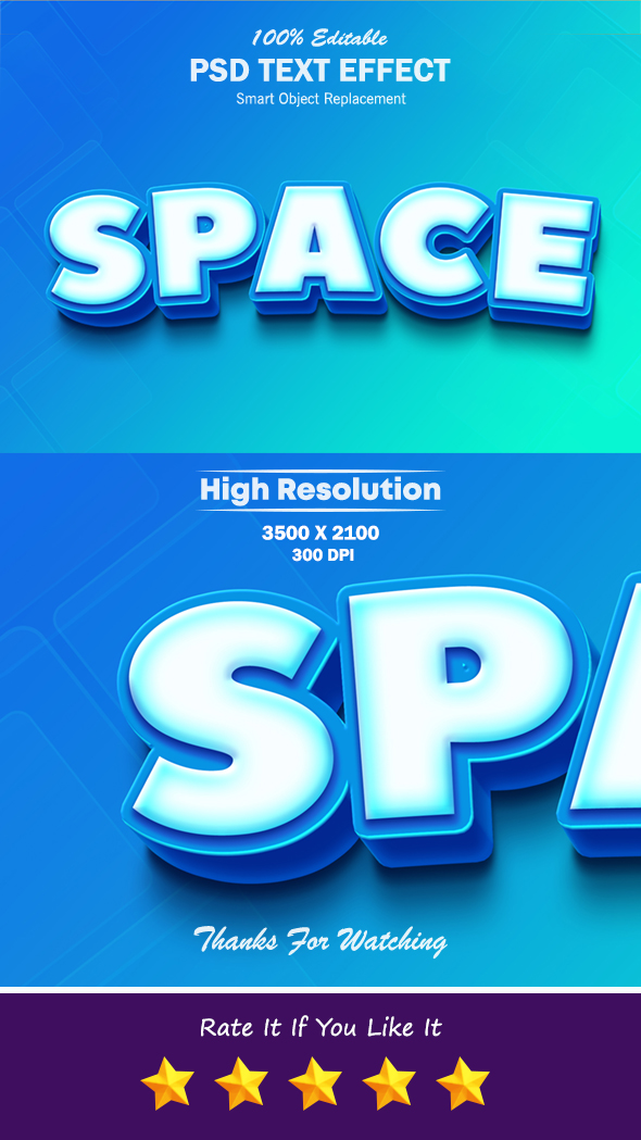 Space Cool Blue and White 3D Text Effect