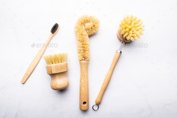 Bamboo Kitchen Scrub Brush Set of 3 - Stock Photo - Images