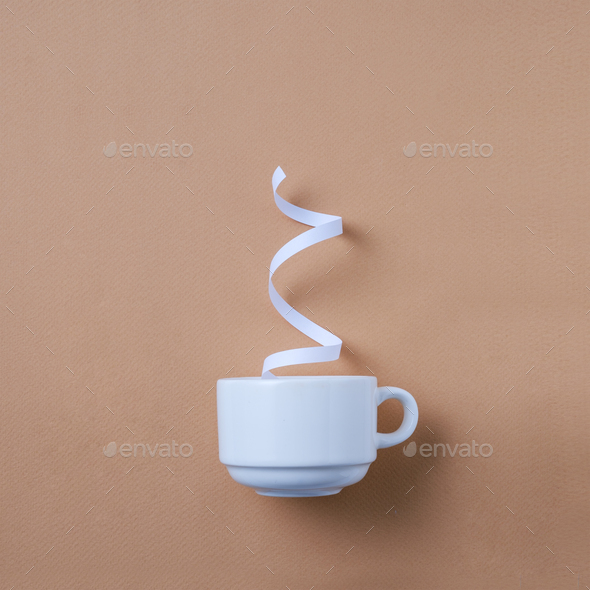 White cup of coffee and steam - Stock Photo - Images
