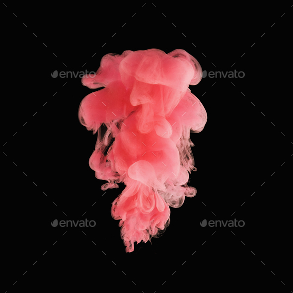 Pink cloud of paint in water - Stock Photo - Images