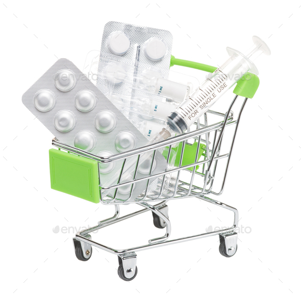 Shopping trolley with medicines on white background isolate - Stock Photo - Images